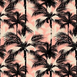 Black pink sand white palm trees