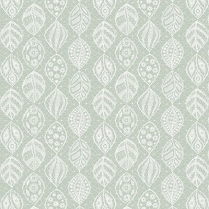 Lace Leaves - White, Seaspray