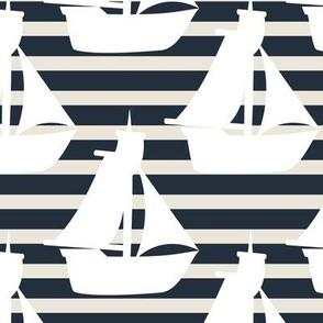 Nautical-boats on stripes
