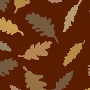 Autumn Leaves: Burgundy and brown large scale wallpaper and home decor