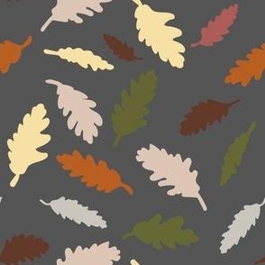 autumn leaves gray multi, medium scale