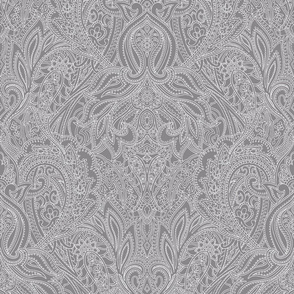 Paisley lace outline - Mid-Dark Grey white