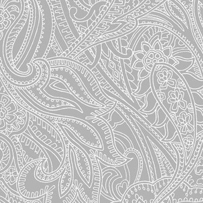Paisley lace outline - Mid-Grey white