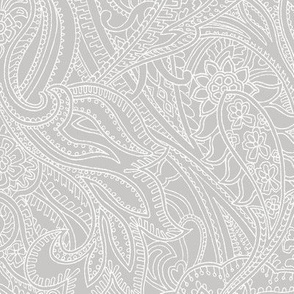 Paisley lace outline -  Light Grey white