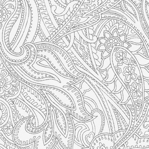 Paisley lace outline - pastel  grey and mid grey