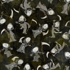 Not So Grim Reaper - Happy gothic horror skull-y skeletons in supernatural death dance - nondirectional skeleton Halloween repeat in black, white, grey, with swampy overtones-- 242dpi (62% of Full Scale)
