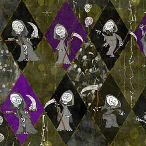Grim Reaper Halloween Cheater Quilt - Skulls. Skeletons, Bones - Day of the Dead Harlequin Argyle in Swamp Gold, Black, Silver