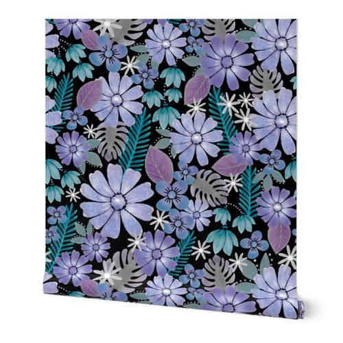 Tropical Floral at Night -  Jumbo Scale