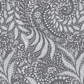 Medium Paisley Garden Grows - greys