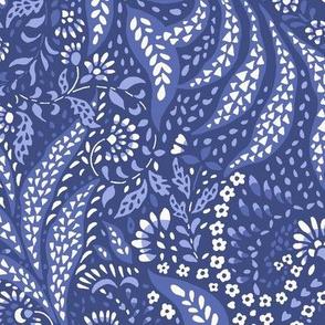 Large Paisley Garden Grows - blue tones