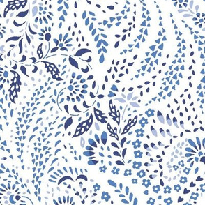 Large Paisley Garden Grows – white and blue