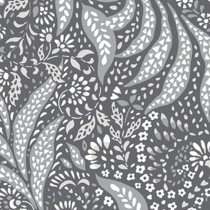 Large Paisley Garden Grows - greys