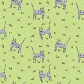 Cat Mice Green