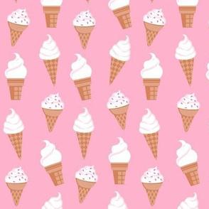 Vanilla Ice Cream Cones on Pink