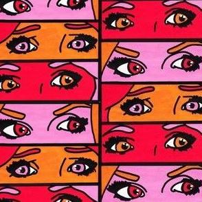 Red Pop Art Girl Eyes