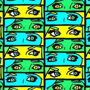 Green Pop Art Girl Eyes