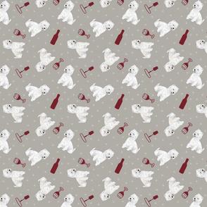 Tiny West Highland White Terrier - wine