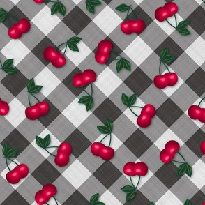 Cherries on Black Gingham - Small Scale fifties rockabilly retro