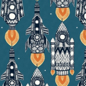 space rockets slate teal small