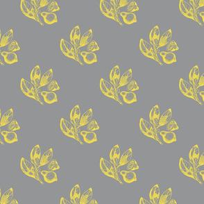 Lemon fruit, flower and leaf - yellow on grey