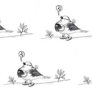 bird musician in tennis shoes