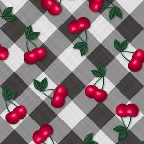 Cherries on Black Gingham - Medium Scale fifties rockabilly retro