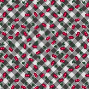 Cherries on Black Gingham - Ditsy Scale fifties rockabilly retro