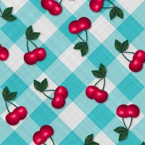 Cherries on Blue Gingham - Medium Scale fifties rockabilly retro