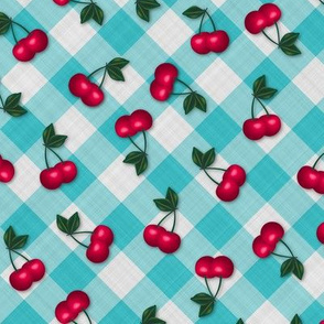 Cherries on Blue Gingham - Small Scale fifties rockabilly retro