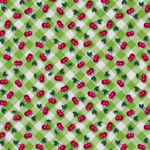 Cherries on Lime Greem Gingham - Ditsy Scale fifties rockabilly retro