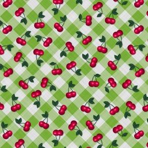 Cherries on Lime Green Gingham - Medium Scale fifties rockabilly retro