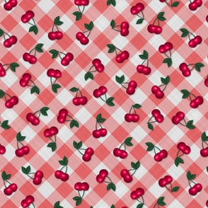 Cherries on Red Gingham - Medium Scale fifties rockabilly retro