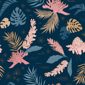 Jumbo Island Flora on Navy - Jumbo Scale 21in x 20in (very large scale, bedding, curtains, navy, dark blue, tropical, jungle, botanical, floral, flowers, leaves, palm leaf, monstera)
