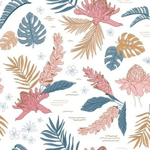Island Flora on White - Regular Scale 7.44in x 7.21in (tropical flowers, jungle, floral, ginger, hawaii, island, beach, pink, blue, gold, girl, modern)
