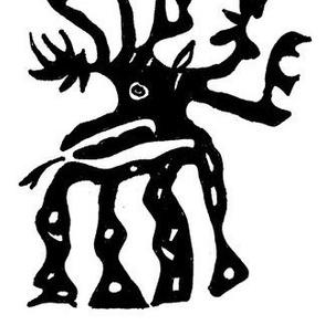elk in mirror