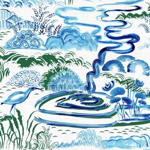 Modern Chinoiserie Landscape in Cobalt and Emerald
