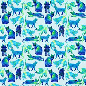Watercolor Cats - Blue Galaxy Pattern