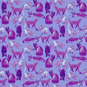 Watercolor Cats - Pink Galaxy Pattern