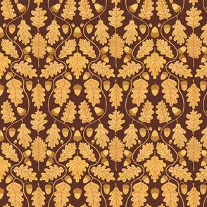 Golden oak damask on dark brown - smaller