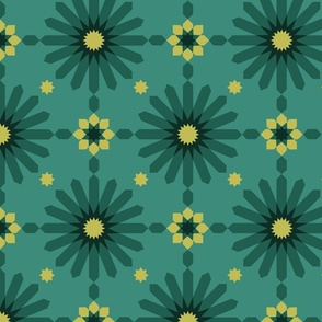 Geometric Sunbursts - Teal Green