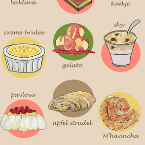 breakroom desserts around the world yellow green pink tan brown pink red purple on cream