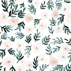 Blush & Forest Florals 8 inch