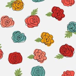 Frida Flowers - White Large Scale