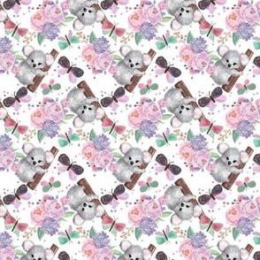 Springtime Koalas, Flowers, Butterflies // white // Mini Size