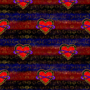 Darker Polyamory Hearts, 5 inches apart