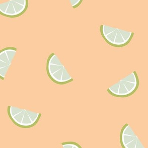 Little summer cocktail lime slices fruit design peach green