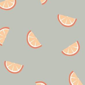 Little summer cocktail orange slices fruit design orange on boho mist green