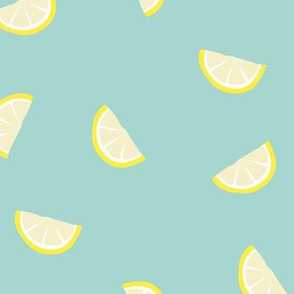 Little summer cocktail lemon slices fruit design yellow mint teal