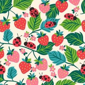 Garden strawberries and ladybirds