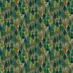 Small Forest with bear and squirrel, gender neutral, trees, mushrooms, kids, baby boy, home decor, curtain, autumn, outdoors